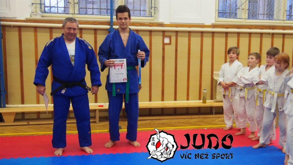 František Včelička 3. s diplomem a medailí z turnaje PČR Ostrava JUDO Open